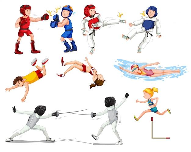 Conjunto de deportistas deportivos. vector gratuito