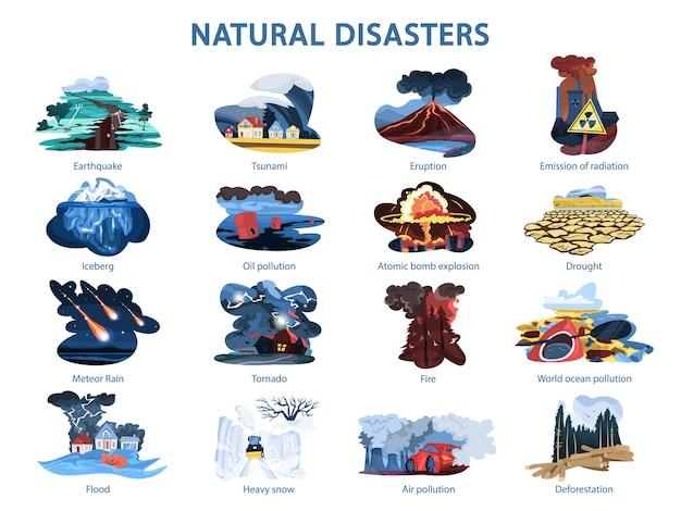 Conjunto de desastres naturales. terremoto e inundación, bosque en llamas Vector Premium