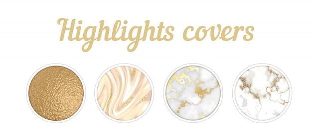 Conjunto destacado de la cubierta de instagram, fondo de textura de mármol mínima Vector Premium