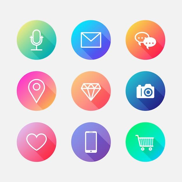 Conjunto de destacados de historias de gradiente de instagram vector gratuito