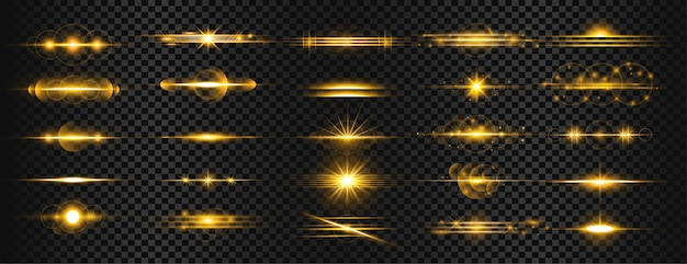 Conjunto de destellos de lente de luz dorada transparente rayas vector gratuito