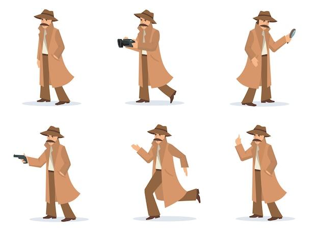 Conjunto de detective privado. investigador en diferentes acciones y poses, inspector con bigote con abrigo y sombrero, tomando fotografías, apuntando con pistola. para investigación, sombra, misterio. vector gratuito