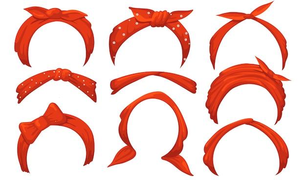 Conjunto de diademas de niña. pañuelo rojo con lazo, pañuelo atado, vinchas. vector gratuito