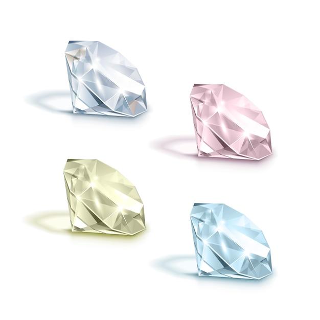 Conjunto de diamantes de color azul claro, rosa, amarillo y blanco brillante brillante aislado sobre fondo blanco. Vector Premium