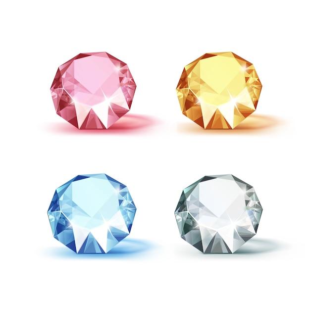 Conjunto de diamantes de color azul rosa amarillo y blanco brillante brillante aislado en blanco Vector Premium