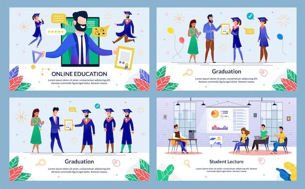 Conjunto de diapositivas de educación y graduación en línea Vector Premium