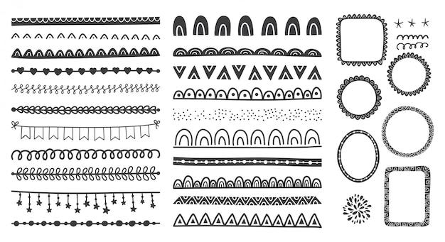 Conjunto dibujado a mano de lindos marcos de doodle, divisores, bordes. Vector Premium