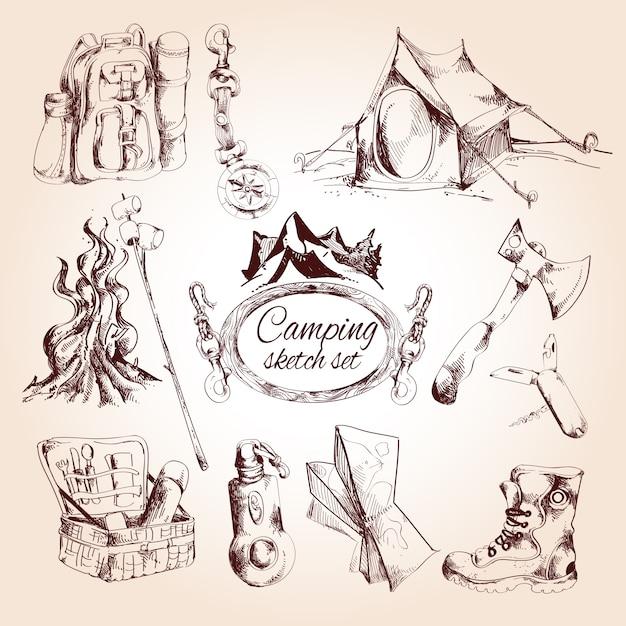 Conjunto de dibujo de camping | Descargar Vectores gratis