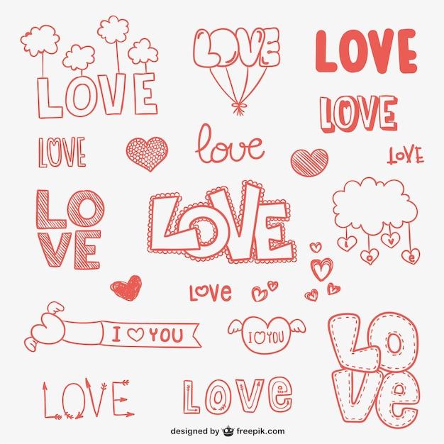 Conjunto de dibujos de amor vector gratuito