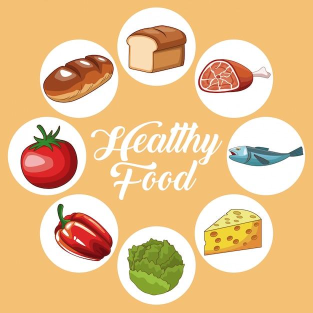 Conjunto De Dibujos Animados De Alimentos Saludables Descargar