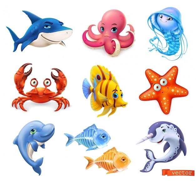 Conjunto de dibujos animados de animales marinos colección Vector Premium