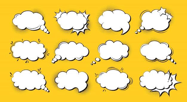 Conjunto de dibujos animados de arte pop cómico de burbujas de discurso, nube de explosión de plantilla. fondo de punto de semitono de elementos de diseño retro de los años 80-90. discurso pensamiento blobs comics banner vintage. ilustración aislada Vector Premium