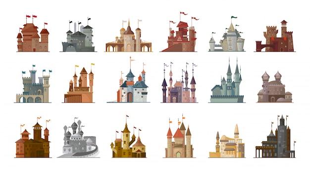 Conjunto de dibujos animados de castillo medieval aislado icono. Vector Premium