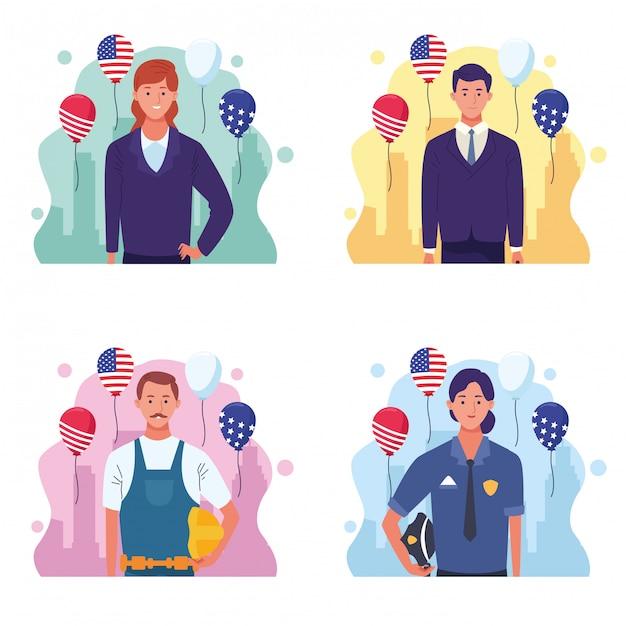 Conjunto de dibujos animados de celebración del día del trabajo en estados unidos Vector Premium