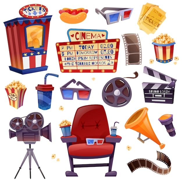 Conjunto de dibujos animados de cine vector gratuito