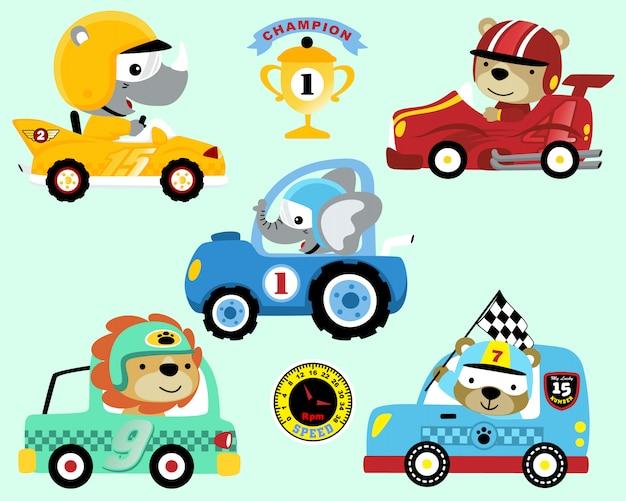 Conjunto de dibujos animados de coche de carreras Vector Premium