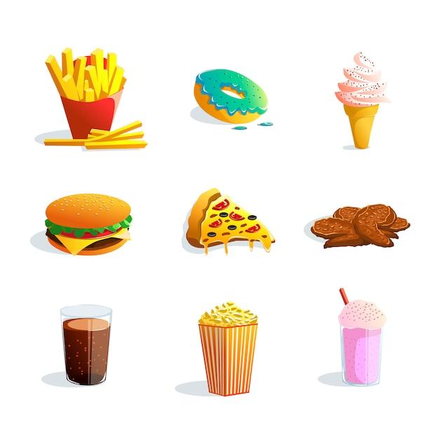 Conjunto de dibujos animados de comida rápida vector gratuito