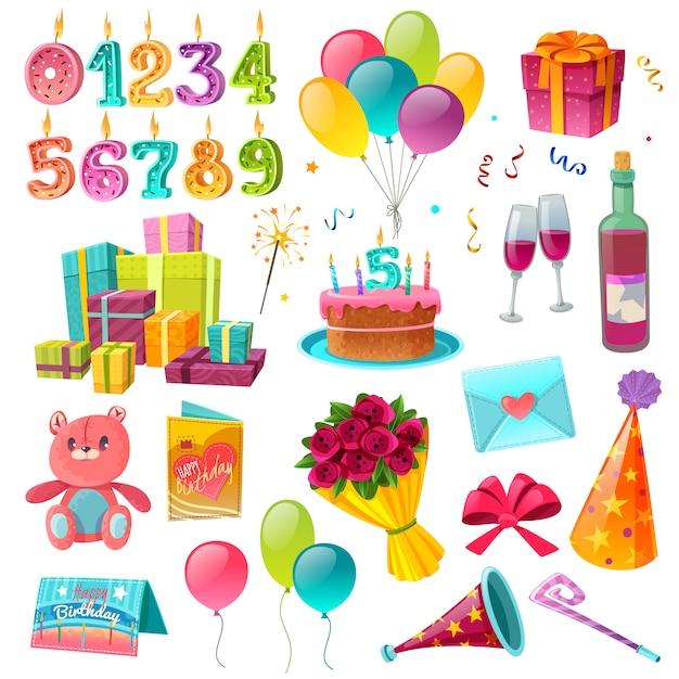 Conjunto de dibujos animados de cumpleaños de celebración vector gratuito