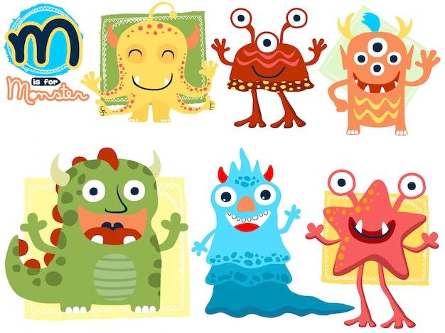 Conjunto de dibujos animados divertidos monstruo Vector Premium