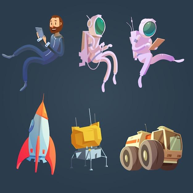 Conjunto de dibujos animados del espacio exterior con símbolos de la nave espacial y la astronáutica vector gratuito