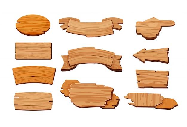 Conjunto de dibujos animados de letreros de madera vector gratuito