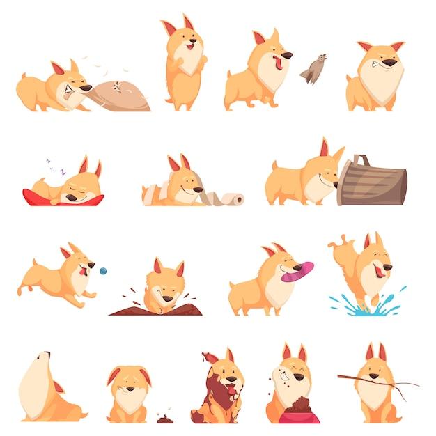 Conjunto de dibujos animados lindo cachorro de diferentes situaciones vector gratuito