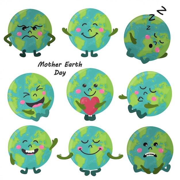 Conjunto de dibujos animados lindo globo terráqueo con emociones Vector Premium