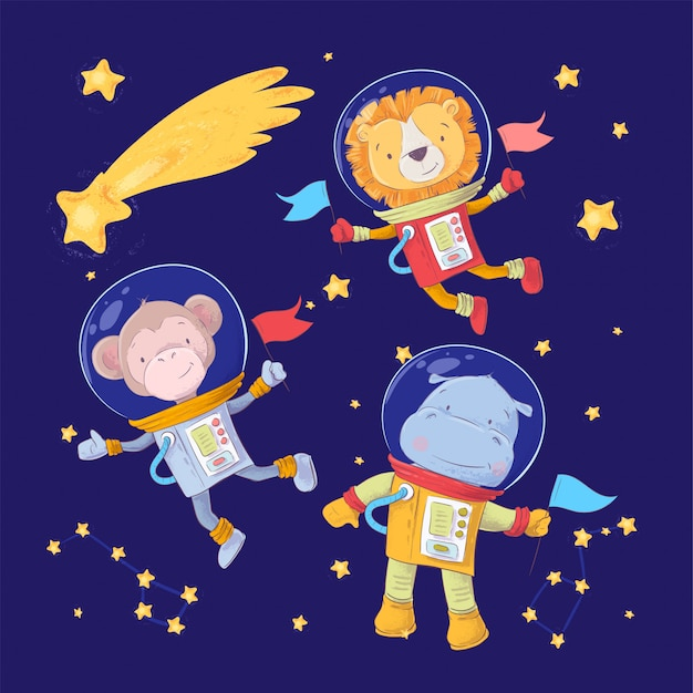 Conjunto de dibujos animados lindos animales mono león e hipopótamos astronautas en el espacio con estrellas y un cometa Vector Premium
