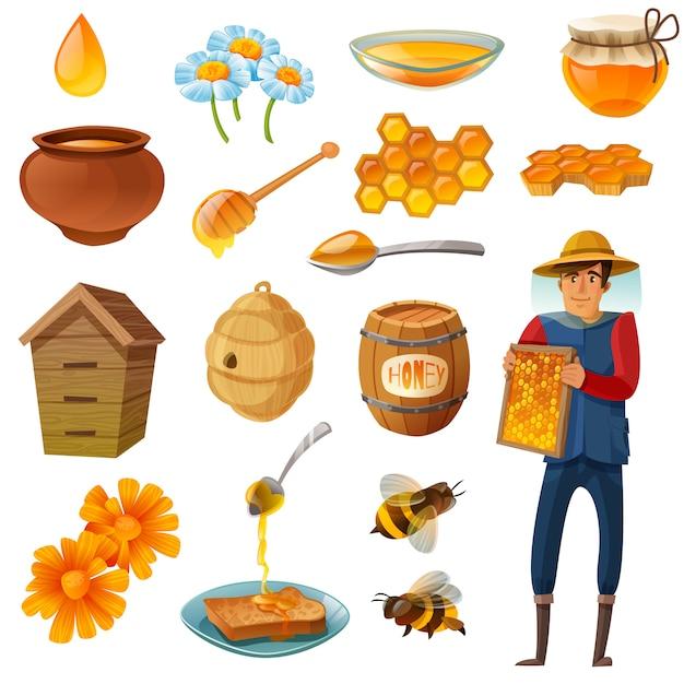 Conjunto de dibujos animados de miel vector gratuito