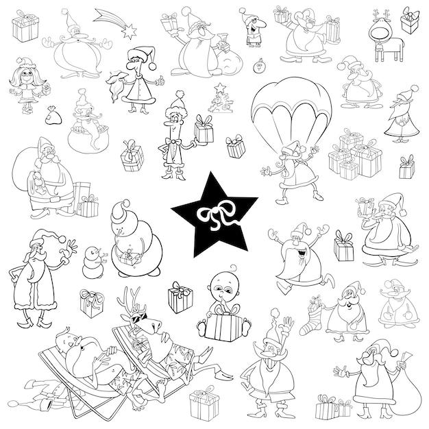 Conjunto De Dibujos Animados De Navidad En Blanco Y Negro