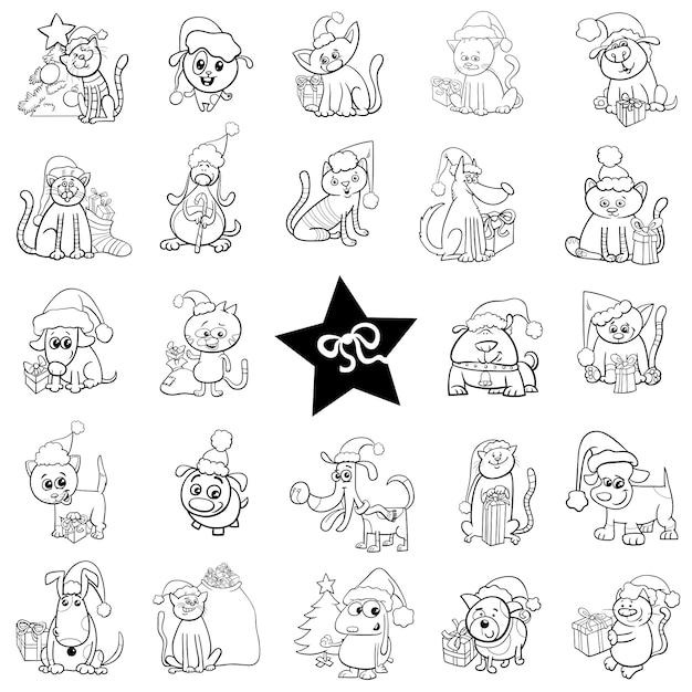 Conjunto De Dibujos Animados Navideños En Blanco Y Negro