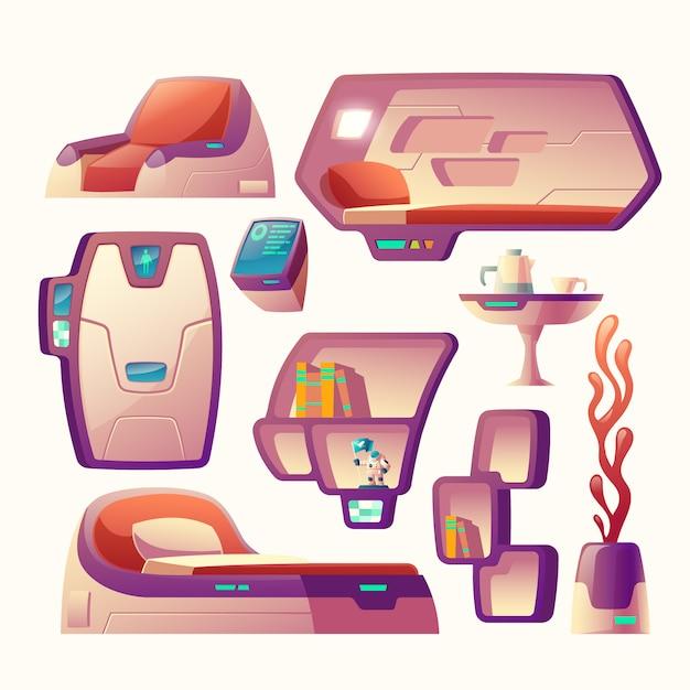 Conjunto de dibujos animados con objetos futuristas para nave espacial. vector gratuito