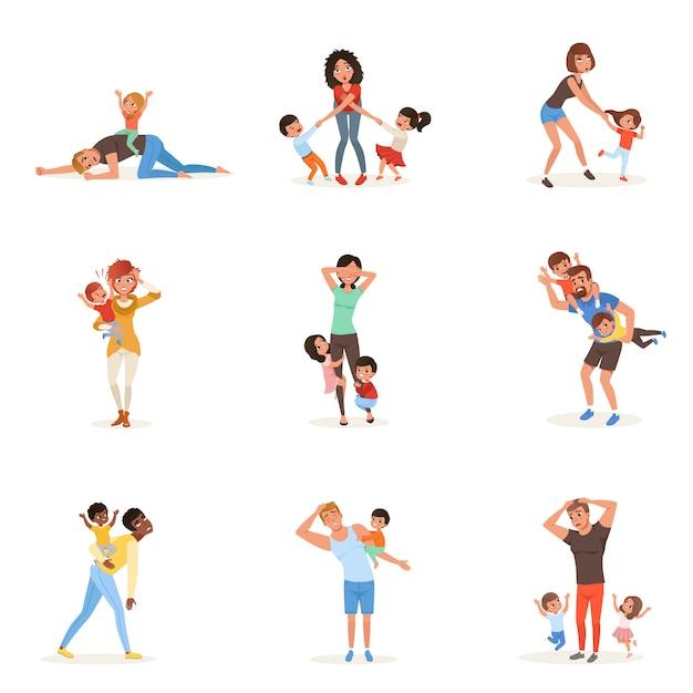 Conjunto de dibujos animados de padres jóvenes cansados en diferentes poses. padres, madres, niños y niñas. los niños quieren jugar. realidad de la paternidad. acción familiar Vector Premium