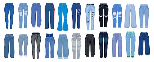Conjunto De Dibujos Animados De Pantalones Vaqueros Icono Pantalones De Mujer De Ilustracion Sobre Fondo Blanco Conjunto De Dibujos Animados Aislados Icono Tipo De Jeans Vector Premium