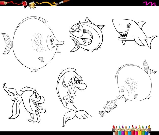 Conjunto De Dibujos Animados Peces Para Colorear Descargar