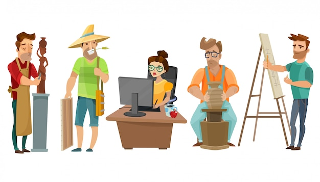 Conjunto de dibujos animados de personas creativas independientes de artistas vector gratuito