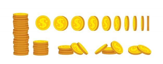 Conjunto de dibujos animados de pila de monedas. monedas de oro montón montón, signo de moneda bancaria. cientos de billetes en efectivo. los centavos se dan vuelta para la animación Vector Premium