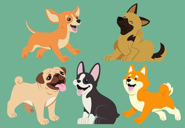 Conjunto de dibujos animados plano de perro Vector Premium
