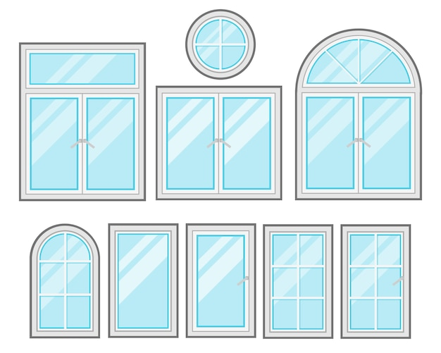 Conjunto de dibujos animados planos de windows aislado sobre fondo blanco Vector Premium