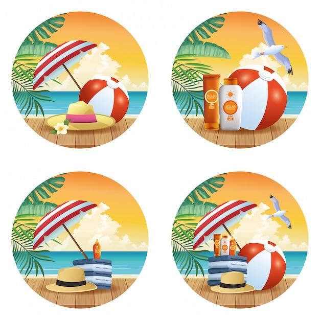 Conjunto de dibujos animados de productos de verano y playa de iconos redondos vector gratuito