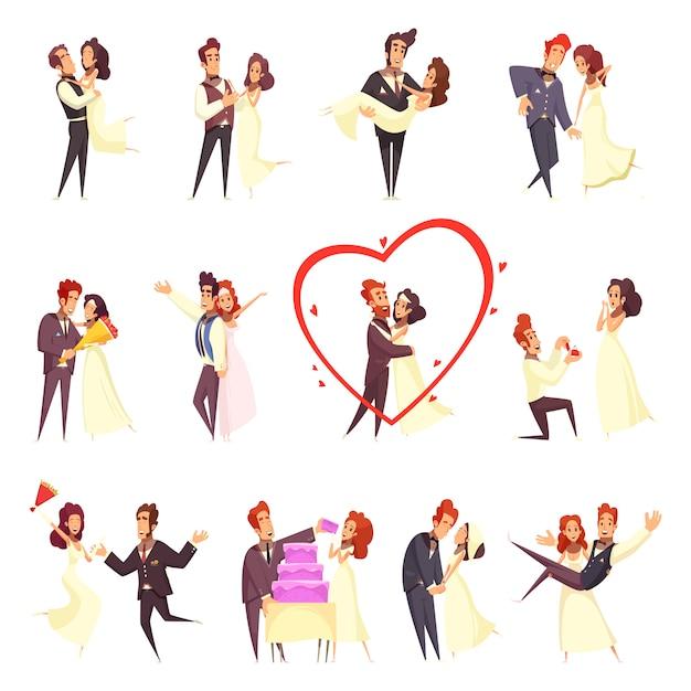 Conjunto de dibujos animados de recién casados vector gratuito