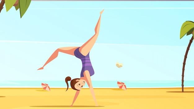 Conjunto de dibujos animados retro de deportista vector gratuito