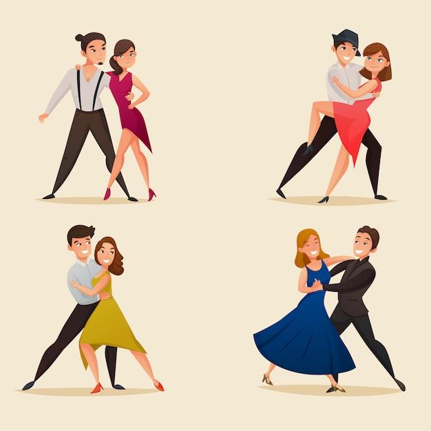 Conjunto de dibujos animados retro pares de danza vector gratuito