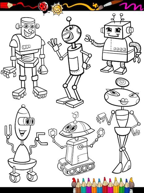 Conjunto De Dibujos Animados De Robots Para Colorear Descargar