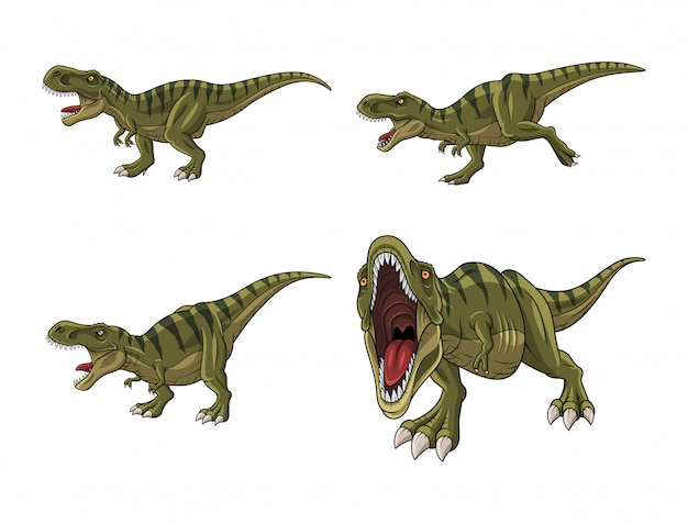 Conjunto de dibujos animados tiranosaurio aislado sobre fondo blanco Vector Premium