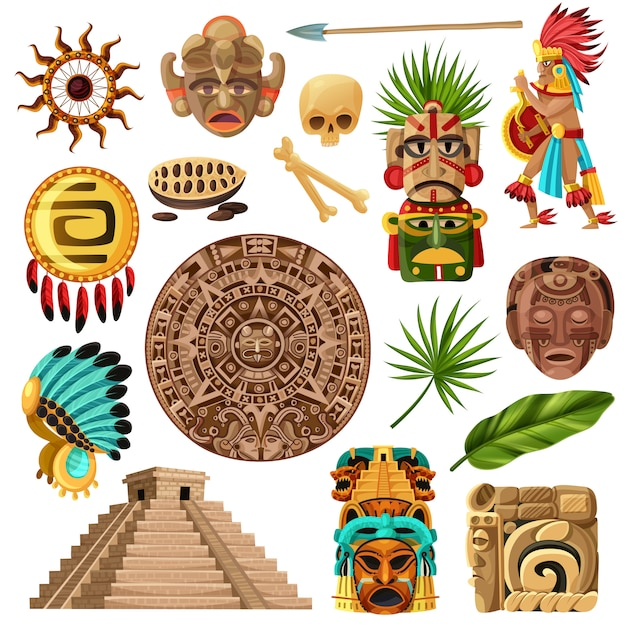Conjunto de dibujos animados tradicionales mayas vector gratuito