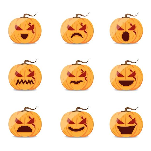 Conjunto de dibujos animados de vector de calabaza de halloween ...
