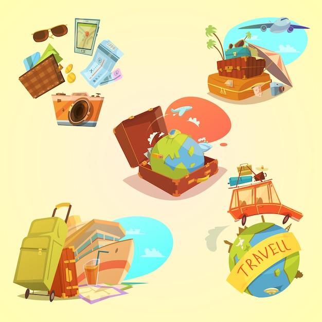 Conjunto de dibujos animados de viaje con equipaje de mapa y símbolos de transporte sobre fondo amarillo vector gratuito