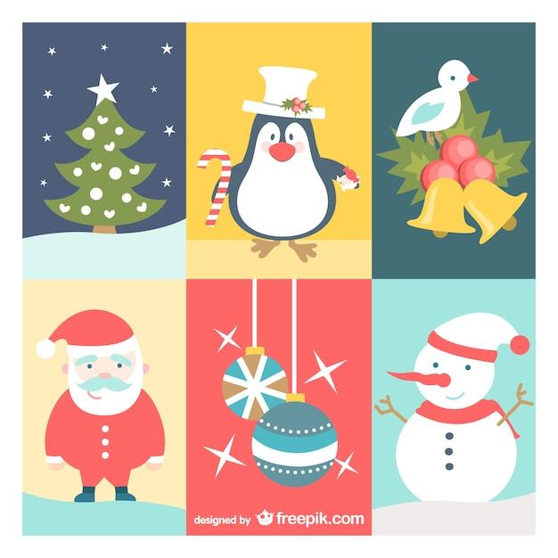 Conjunto De Dibujos De Navidad Vintage Descargar Vectores Gratis