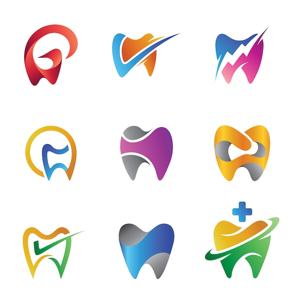 Conjunto de diente isotipo abstracto colorido para clínicas dentales o dentistas Vector Premium